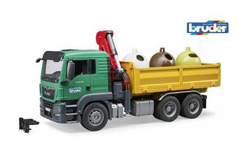 Bruder 3753 MAN TGS Truck with Load Crane and Old Glass Container Multi-Coloured