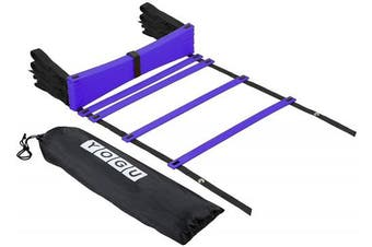 (Blue - 12 Rung) - YOGU Agility Ladder Set Training Speed Ladder Footwork Equipment for Soccer Football Exercise Fitness Workouts Drills 8 or 12 Adjustable Rungs Ladder with Carry Bag