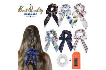 (Z-Colour, 6PCS) - 6Pcs Hair Scrunchies Bowknot Ribbon Elastics Hair Bands Scrunchy Flowers Hair Rope Ties Hair Bow Ponytail Holder Accessories for Women Girls