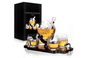 Whiskey Decanter Set World Etched Globe Decanter Antique Ship Glasses Bar Pour Funnel Stopper Liquor Dispenser Spirits Scotch Bourbon Vodka Rum Wine Tequila Brandy Perfect Gift 850 ml