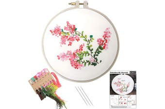 (Jakaranda) - Embroidery Kit, Creative Flower Hand Embroidery Cross Stitch Starter Needlepoint Crafts Kit with Colour Pattern Cloth, Embroidery Hoop, Colour Threads and Tools Kit for Home Decor (Jakaranda)