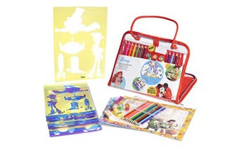 Disney Stencils And Drawing Art Set For Kids | Colouring Set Arts And Crafts Educational Activity Kit For Children | 34 Pieces Large Filled Carry Bag | Birthday Gift For Boys And Girls From Age 3