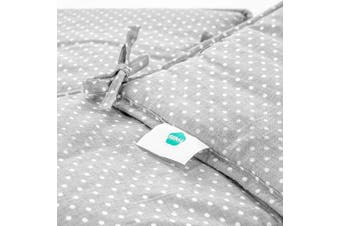 Fillikid Cot Bed Bumper 165 x 25 cm - Breathable Cotton Liner with Head Guard | Ideal for Side Sleeping Crib, Cot and Cot Bed- Grey with White Dots