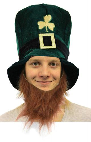 IRELAND ST PATRICKS DAY FANCY DRESS IRISH GREEN TOP HAT WITH BEARD