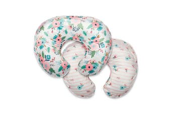 (1, Pink White Floral Duet) - Boppy Boutique Pillow Cover, Pink White Floral Duet, Minky Fabric in a fashionable two-sided design, Fits ALL Boppy Nursing Pillows and Positioners