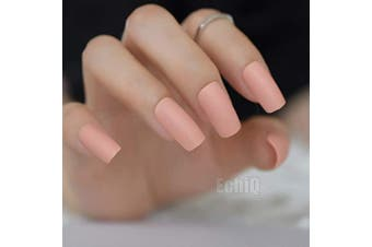 24 Cream Nude Pink False Nails Long Slim Matte Fake Nails Frost Square Art Design DIY Full Free Artificial False Nails 24