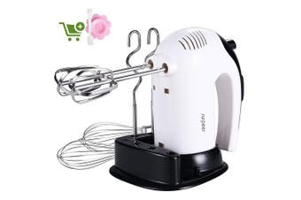 (Hand Mixer) - Hand Mixer,300W,SURPEER Electric Hand Whisk Professional,5 Speed Cake Mixer with Storage Base,2 Dough Hooks,2 Balloon Whisks,2 Beaters,Kitchen Food Mixers Hand Held for Baking,White/Black