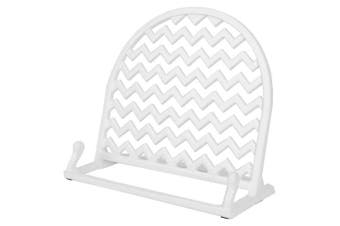 (White) - Home Basics Cast Iron Chevron Design Cookbook Stand, 10.5x 5.13cm x 23cm (White)
