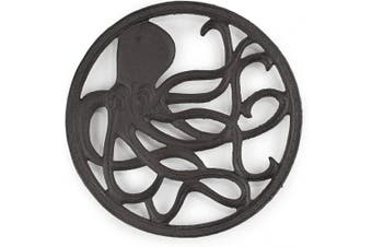 gasaré, Cast Iron Trivet, Metal Trivet, Decorative Octopus, for Hot Dishes, Pots, Kitchen, Countertop, Dining Table, with Rubber Feet Caps, Solid Cast Iron, 20cm Large, Rustic Brown Finish
