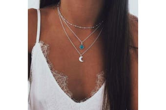 Evazen Bohemian Turquoise Layer Moon Necklace Chain Silver Crescent Choker Necklace for Women and Girls