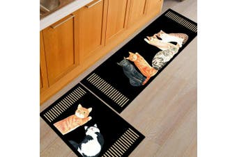 (50*160cm, 5 Cats) - THEE Non-Slip Kitchen Mat Rubber Backing Doormat Runner Rug
