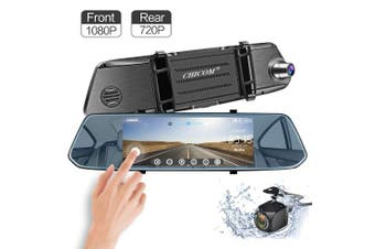 (7 Inch) - Mirror Dash Cam, F7 18cm IPS Touch Screen [Adjustable Field of View] 1080P Front + 720P Rear View Full HD Dual Lens Car Video Recorder Dashboard Camera G-Sensor Parking Assistance