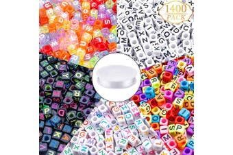 1400pcs 5 Colour Letter Beads Acrylic Alphabet Cube Beads with 1 Roll Elastic Crystal String Cord for Jewellery Making DIY Necklace Bracelet(6mm)