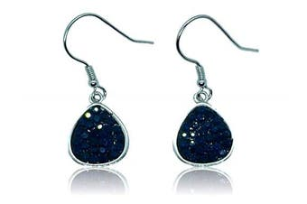 Jet black marcasite dangle pear shaped earrings set in 925 sterling silver
