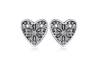 Very pretty glitter heart earrings in 925 sterling silver