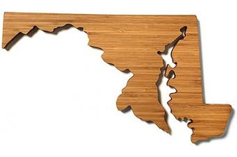 (Maryland) - AHeirloom: The Original State Shaped Serving & Cutting Board. (As Seen in O Magazine, Good Morning America, Real Simple, Brides, Knot.) Made in the USA from Organic Bamboo, Large 38cm (Maryland)
