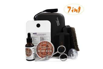 (Beard Kits) - Beard Grooming Kit for Men,Sockspark Beard Care Trimming Kit 7 in 1 Portable Travel Set with Beard Balm & Oil,Boar Beard Brush,Wood Comb,Scissors,Fogless Shower Mirror,Suction cup