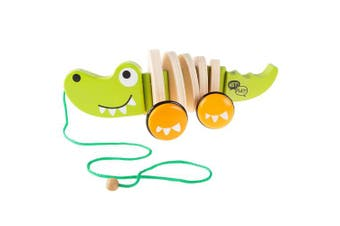 Hey!Play! Wooden Pull Toy – Old Fashioned Rolling Walk Along Alligator with String for Indoor & Outdoor Play – Preschool, Babies & Toddlers