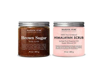 Majestic Pure Himalayan Salt Body Scrub & Brown Sugar Scrub Set – All Natural Scrubs for Skin Care – Exfoliate and Moisturise, Reduce the Look of Spider Veins, Eczema, Stretch Marks, Acne & Cellulite