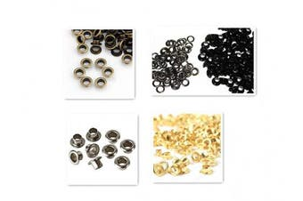 (5 mm, 4 Colors) - 200 Pcs Metal Grommets Eyelets Self Backing for Bead Cores, Clothes, Leather, Canvas (4 Colours, 5 mm)