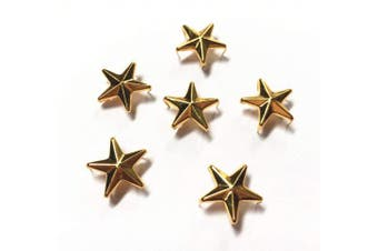 (10mm, Gold) - 200 Pcs Star Studs, Metal Claw Beads Spot Nailhead Punk Rivets with Spikes (Gold, 10mm)