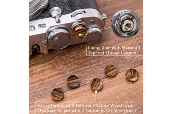 (Golden Wood 12mm Concave) - VKO Wood Soft Shutter Release Button Compatible for Fujifilm X-T30 X-T3 X100F X-T20 X-PRO2 X30 X100T X100S X-E3 PEN-F M8 M9 M10 Camera 12mm Concave Surface Golden Black 1 PCS (Wood Grain Random)