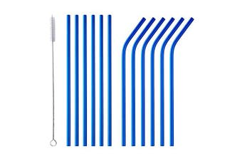 (Blue) - Bisda Stainless Steel Blue Straws Drinking Straw 6 Straight and 6 Bend Metal Straw with 1 Cleaning Brush for Hot and Cold Drinks