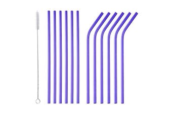 (Purple) - Bisda Stainless Steel Straws 12 Pieces Purple Reusable Metal Straw with 1 Cleaning Brush 21cm Length
