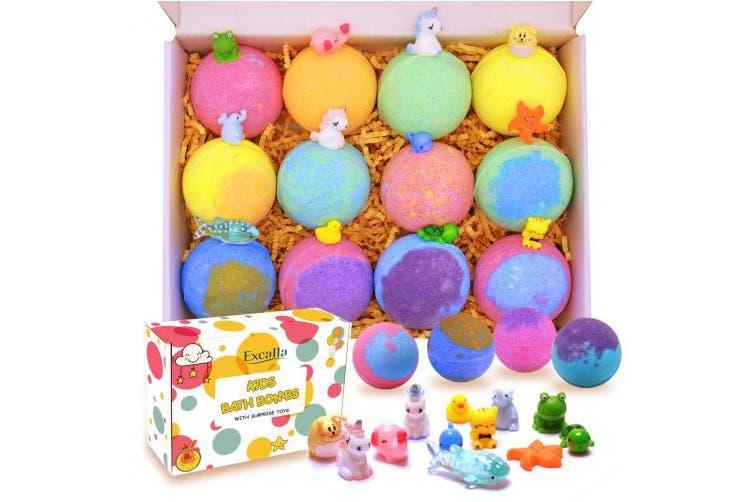 Kids Bath Bombs with Surprise Toys Inside - Lush Bubble Bath Fizzies Natural Vegan Essential Oil Spa Bath Fizz Balls Kit for Girls/Boys/Women Dry Skin Moisturise, Handmade 12 Gift Set, Kid Safe
