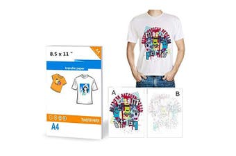 10 Sheets T-Shirt Transfers Printers A4 Iron on Inkjet Heat Transfer Paper for Light Colour Fabrics Cloth