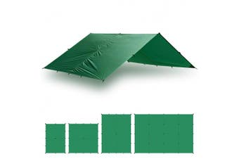 (10 x 10, Green) - Aqua Quest Guide Tarp - 100% Waterproof Ultralight Ripstop SilNylon Backpacking Rain Fly - 10x7, 10x10, 13x10, 20x13 Green or Olive Drab