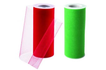 Charmed tulle fabric in kelly green and red Christmas colour! 15cm by 25 yards (2 spools)