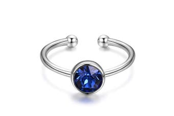 (Blue) - 925 Sterling Silver Round Crystals Ring Adjustable Wrap Open Ring for Women Girls