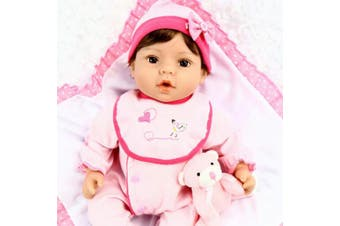 Aori 46cm Reborn Baby in Gentle Touch Weighted Body Lifelike Girl Doll,9-Piece Set with Pink Carrier Bed