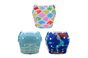 (0-2 Years, color 23) - ALVABABY Swim Nappies 3pcs One Size Reuseable Washable & Adjustable for Swimming Lesson & Baby Shower Gifts 3SW23