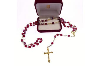 Gold chain bright red iridescent glass rosary beads Mary centre Catholic in box