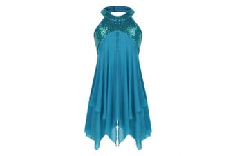 (Sequins Teal, 13-14 Years) - CHICTRY Kids Girl's Cutout Back Lyrical Dance Dress Irregular High-Low Skirt Ballroom Dancing Costumes