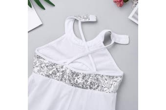 (Sequins White, 11-12 Years) - CHICTRY Kids Girl's Cutout Back Lyrical Dance Dress Irregular High-Low Skirt Ballroom Dancing Costumes