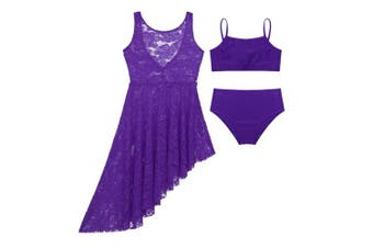 (Z Lace 3pcs Purple, 13-14 Years) - CHICTRY Kids Girl's Cutout Back Lyrical Dance Dress Irregular High-Low Skirt Ballroom Dancing Costumes