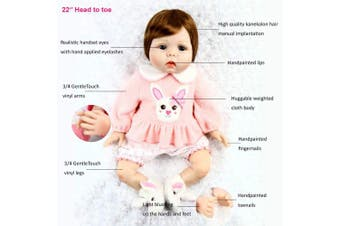 (WHITE BUNNY) - Aori Reborn Baby Doll Lifelike Weighted Girl Doll 60cm with Bunny Set Safety for Age 3