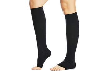 (Medium, Black) - Beister Medical Open Toe Knee High Calf Compression Socks for Women & Men, Firm 20-30 mmHg Graduated Support Hosiery for Varicose Veins, Edoema, Flight, Pregnancy