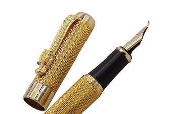 (Gold Fude Pen) - Jinhao Dreadnaught and Gold Chain Dragon Fountain Pen Bent Nib,Red Crystal Eyes with Ink Converter Fude Pen
