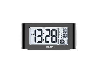 (Black) - BALDR Nap Timer Alarm Clock with Quick Set-up Digital LCD Temperature Display Snooze Buttons White Backlight (BLACK)