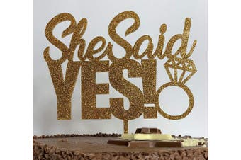 Cotton Candy Parties SHE SAID YES with Ring Gold Glitter ACRYLIC Cake Topper