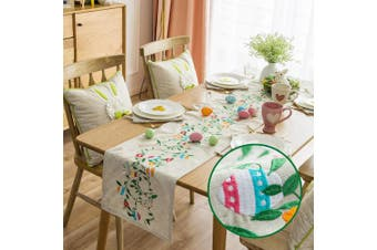 (36cm  x 270cm , Easter Bunny) - Cassiel Home Embroidery Easter Day Table Runners 270cm Easter Egg and Bunny Embroidery Table Cloths 14x 108
