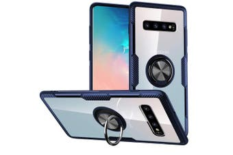 (Galaxy S10 Plus,Blue) - Galaxy S10 Plus Case,SQMCase Crystal Clear Carbon Fibre Design Armour Protective Case with 360 Degree Rotation Finger Ring Grip Holder Kickstand [Work with Magnetic Car Mount] for Galaxy S10 Plus,Blue