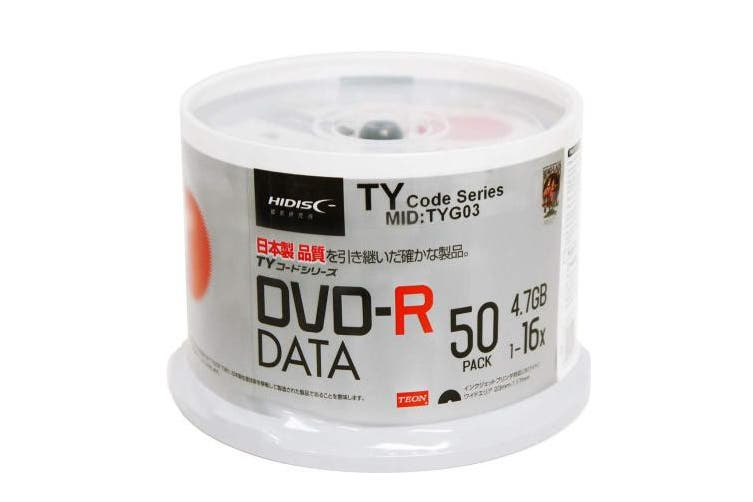 50 Spindle HiDisc DVD-R 16X 4.7GB 120Min (Taiyo Yuden TY Code MID TYG03) White Inkjet Hub Printable Blank Recordable Disc