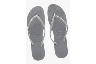 (1/2 UK, Grey(steel Grey)) - Havaianas Women's Slim Crystal Glamour Sw Flip Flops