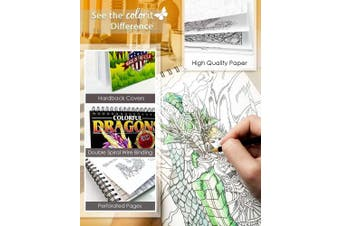 ColorIt Colourful Dragons Adult Colouring Book - 50 Single-Sided Designs, Thick Smooth Paper, Lay Flat Hardback Covers, Spiral Bound, USA Printed, Dragon Pages to Colour