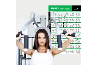 Gym Equipment Exercise Poster for Home or Fitness Centre, 50cm x 80cm :: Illustrated Chart with 40 Exercises for Upper Body, Core, Back & Lower Body :: Guide for Resistance and Weight Machines